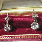 Antique Natural Spinel French Dormeuse Dangle Earrings ~ Silver ~ Edwardian Period
