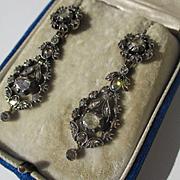 Antique Long Dangle True Day / Night Diamond Earrings ~ 6 Carats ~ Georgian Era