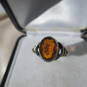 SOLD Shop Special! Vintage 3 Carat Citrine ring in lovely Sterling Setting ~ Retro Period