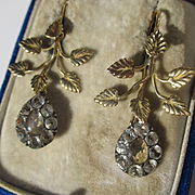 Rare Antique Black Dot Rock Crystal 18K Gold Dangle Earrings ~ Georgian Era