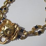 Rare Vintage Kenneth Jay Lane ~ KJL Lion Head Door Knocker necklace with Enamel Links ~ 1960's