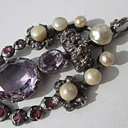 Grand and Impressive Antique Georgian Pendant with Amethyst ~ Rubies ~ Diamonds and Pearls ~ C