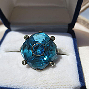 SOLD Wonderful Vintage Huge Blue Paste and Stone Ring ~ Art Deco Period