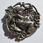 SALE PENDING Antique Art Nouveau Silver Cupid Brooch ~ Extra Large Scale