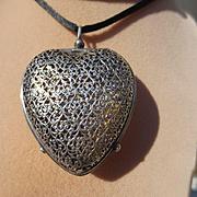 Huge Antique Heart Shaped Gorham Sterling Silver Perfume Vinaigrette Pendant ~ Victorian Perio