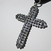 Extra Large Antique French Paste Black Dot Paste Religious Cross Pendant ~ Victorian Period