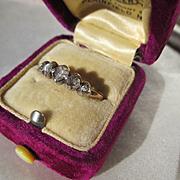 Antique 5 Rose Cut Diamond Band Ring in Silver and Gold ~ Circa 1800 ~ Georgian Period