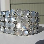 Scarce Antique Moonstone Cabochon Bracelet in Silver ~ Victorian Era