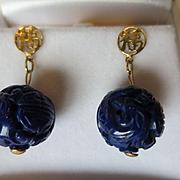 SALE Shop Special! Vintage Carved Lapis Lazuli and 14K Gold Dangle Earrings ~ Chinese