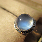 SALE PENDING Antique Large Moonstone Cabochon Stickpin in 14K Yellow and White Gold ~ Edwardia