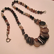 Antique Banded Agate Disc Necklace ~ Victorian Period