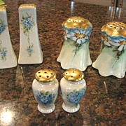 SOLD 3 pair Shakers Hand China Painted Floral Salt Pepper Muffineer Porcelain China Heirloom V