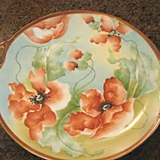 Artist Signed Old Abbey Limoges Lg Cake Plate Platter Poppies Hand Painted C1900