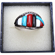 Veronica Pablano Artist Signed  Ring Vintage Zuni Native American Turquoise Coral  Vintage