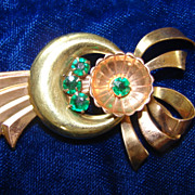Vintage Gold Filled  and Copper Emerald Splash Brooch Pin
