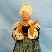 Antique Celluloid H/P Character Lady Doll