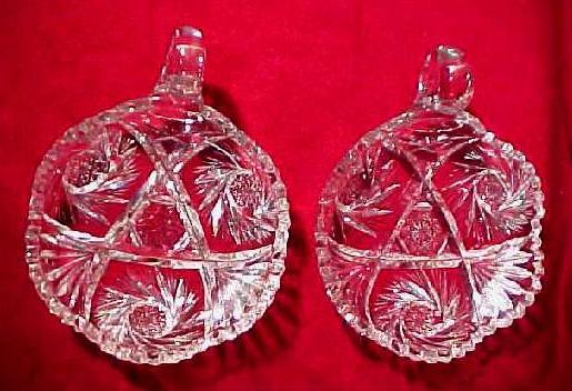 American Brilliant Period Cut Glass Nappy Bowl Pair