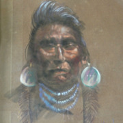 """Wisdom Sees All"" Original Painting Don Prechtel Native American Portrait"