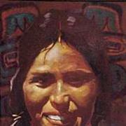 Kwakiutl Flathead Montana Native American Maiden Portrait Don Prechtel Original Oil Painting o