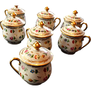 Limoges France Hand Painted Porcelain Set (7) Covered Pots de Creme De Creux Paris