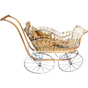 Antique Baby Doll Carriage Stroller Stick and Ball & Wicker Museum Exhibited