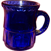 EAPG Miniature Cobalt Child's Mug Bead and Dart Pattern Pressed Glass