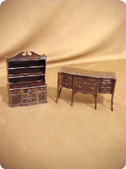 Renewal Doll House Miniature Furniture Hutch & Buffet 50s Signed  2 Pc Formal set Child's Children's