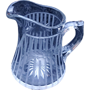 ABCG American Brilliant Cut Glass  Cut Engraved Milk Syrup Pitcher