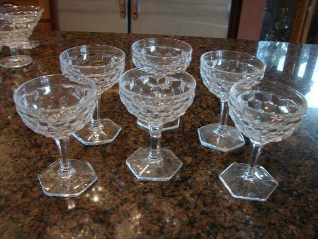 "6 Fostoria Glass American 4 ½"" Stem Dessert Goblets"