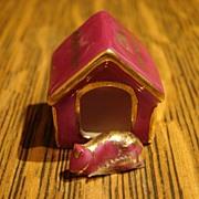 Miniature Limoges Castel Mini Dog House & Dog Chein Mechant