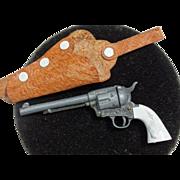 Marx Miniature Toy Longhorn Cap Gun Revolver & Holster Vintage