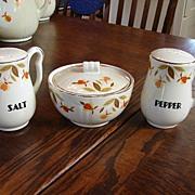 Hall China Jewel T Autumn Leaf Range Set Drip Bowl W/ Lid Salt & Pepper Shakers NM/M