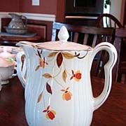 Hall's China Jewel Tea Autumn Leaf Pattern Rayed Coffee Pot w Lid