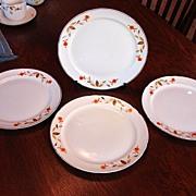 Hall's China Jewel Tea Autumn Leaf Set of 4 Luncheon Breakfast Plates