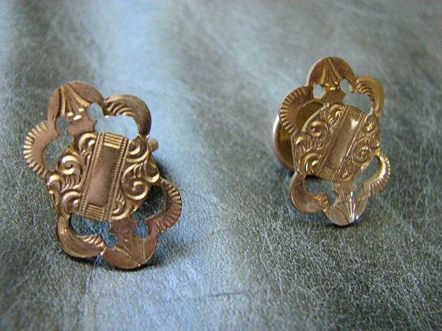 Brite Cut Engraved Gold Victorian Cuff Links Fine Costume Cufflinks Neo Classic Revival