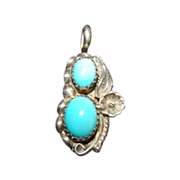 Native American Pendant, Turquoise, Sterling