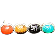 Sterling Scarab  handmade Jade Onyx Tiger eye Carlialian pin