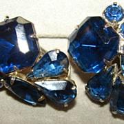 SALE Remarkable Rich Blue Vintage  clip back earrings