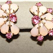 Vintage Pink Rhinestone Fau Moonstone Clip Earrings