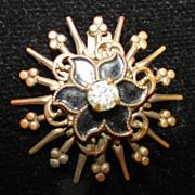 Rare 1880s  Black Enameled White  Paste  Stone hook back pin