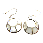 Vintage Sterling Silver Mother of Pearl Inlaid Earrings