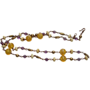 Vintage Handmade Amethyst and Hand blown yellow Swirls Necklace