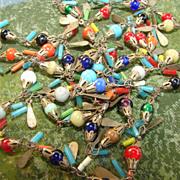 Vintage Hand Blown Peking Glass Multi color Necklace