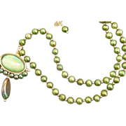 Unique  Cultured  Peacock Green   Pearl Necklace. LUC 925 Sterling