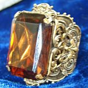 Vintage Chocolate or Cola Colored Huge Filigree Ring