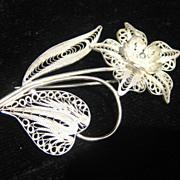 Vintage Filigree Sterling silver Flower Brooch
