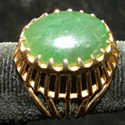 Jade Filigree Open work Raised Ring Size 7