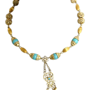 Gold Tone Bead Turquoise Beads Asian Necklace
