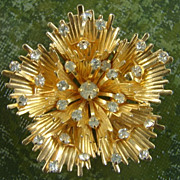 SALE Vintage Gold tone White Rhinestone Pin Brooch