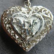 Sterling Silver Filigree Puff Heart Pendant